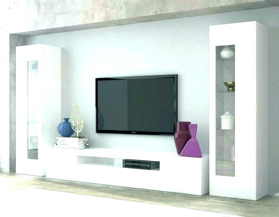 TV wall unit with glass shelves